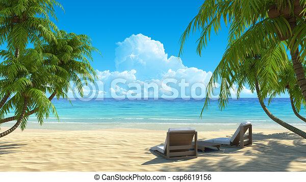 Two beach chairs on idyllic tropical white sand beach - csp6619156