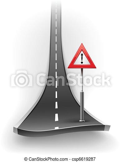 break of asphalt road with warning sign - csp6619287