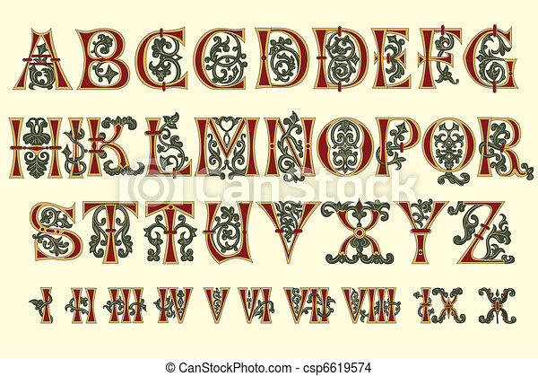 Alphabet Medieval and Roman numeral - csp6619574