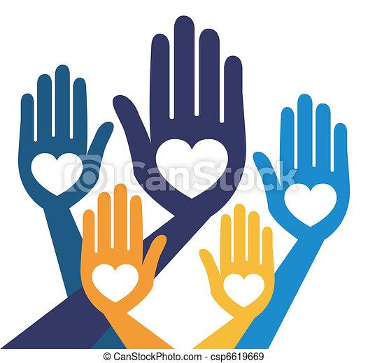 Helpful united hands vector.  - csp6619669