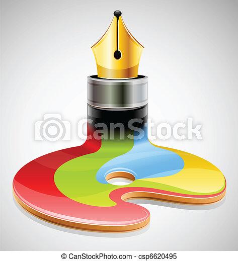 ink pen as symbol of visual art - csp6620495