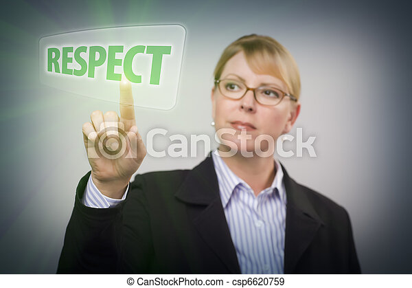 Woman Pushing Respect Button on Interactive Touch Screen - csp6620759
