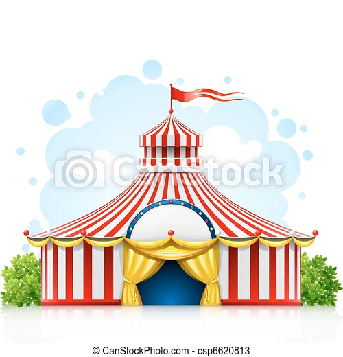 striped strolling circus marquee tent with flag - csp6620813