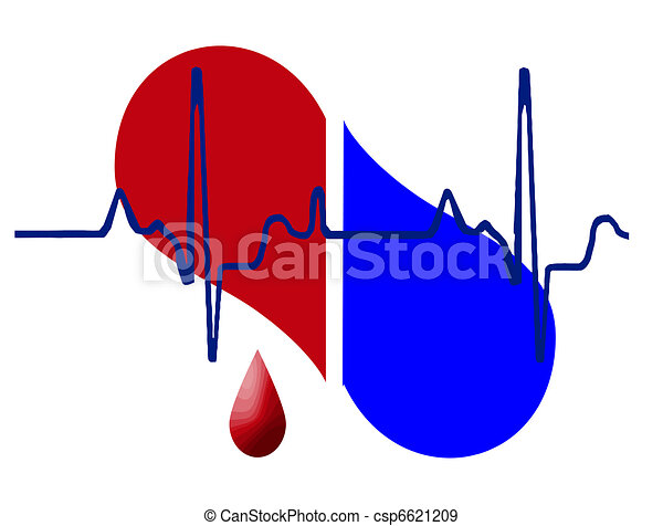 Half heart and heartbeat background - csp6621209