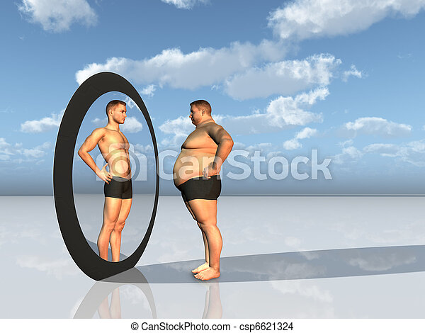Man sees other self in mirror - csp6621324