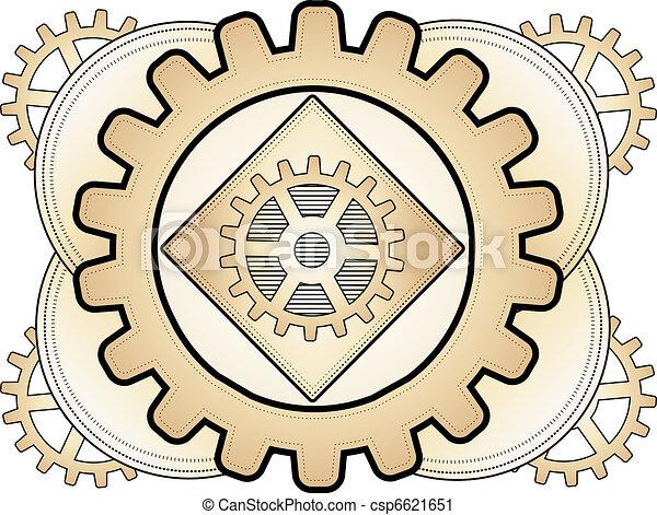 Steampunk Abstract Gear Ornament Lo Vector