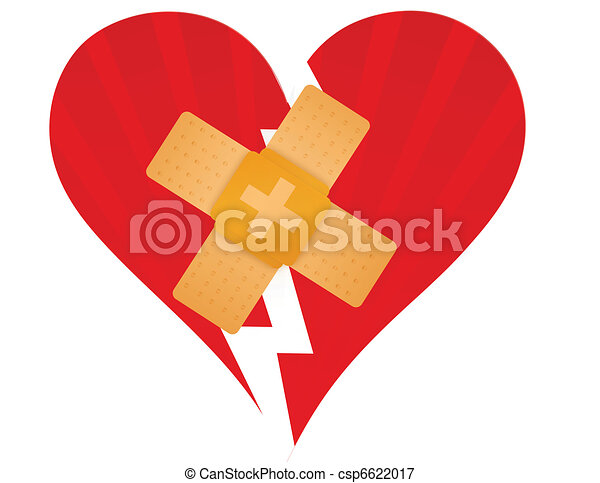 Broken heart with a band aid - csp6622017