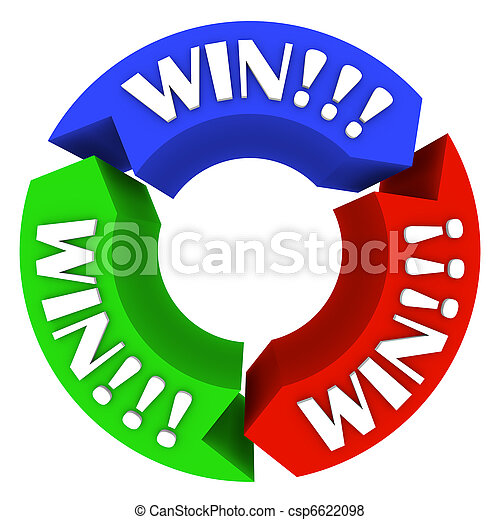 Win Circle with Words on Arrows - Lucky in Games and Life - csp6622098