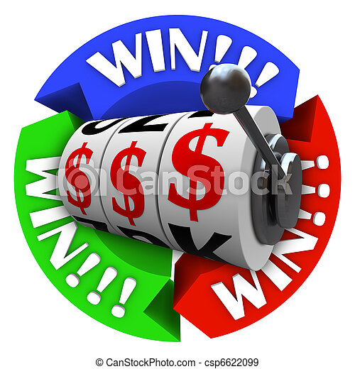 Win Circle with Slot Machine Wheels and Money Signs - csp6622099