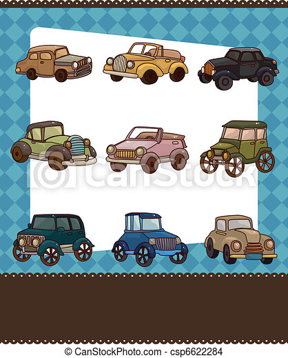 cartoon retro car card - csp6622284