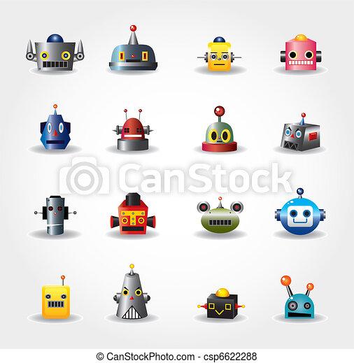 cartoon robot face icon , web icon set -vector - csp6622288