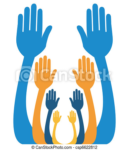 Reaching out together design. - csp6622812
