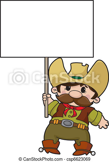 cowboy with blank sign - csp6623069