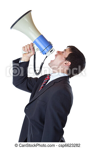 Young businessman shouts loudly into megaphone overhead - csp6623282