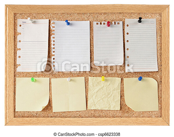 collection of note papers on cork board - csp6623338