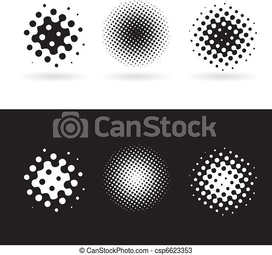 Black and white round spots - csp6623353