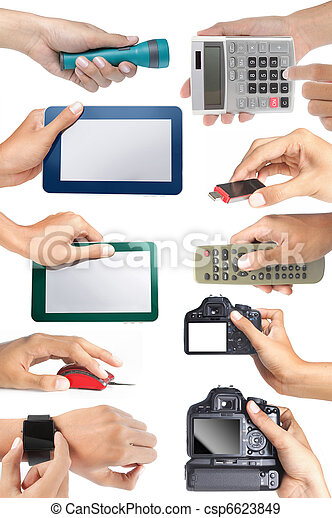 set of hand holding electronic devices - csp6623849