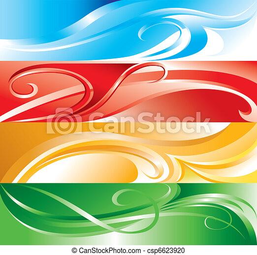 Vector multicolor flourish background - csp6623920