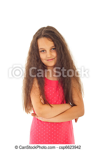Cute preteen girl with long hair - csp6623942