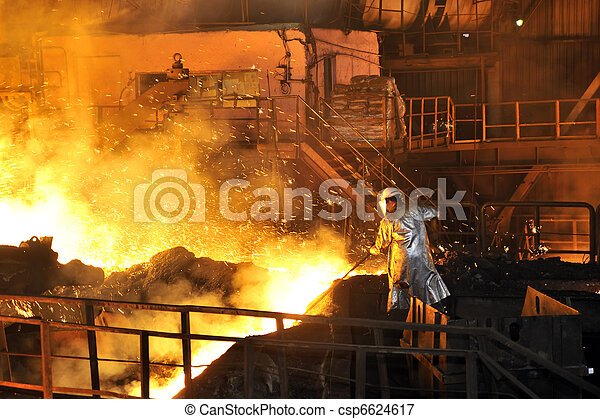Molten hot steel pouring and worker - csp6624617