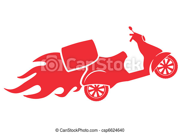 Scooter silhouette - Fast Delivery Service Symbol - csp6624640
