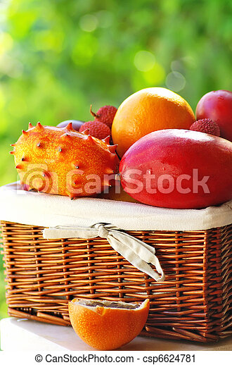 Basket of tropical fruits. - csp6624781