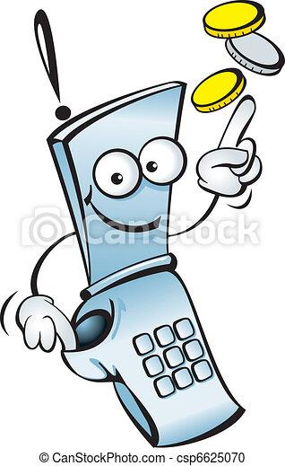Funny mobile telephone - csp6625070