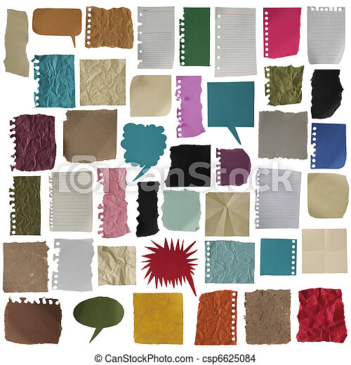 collection of various note papers on white background. each one is shot separately - csp6625084