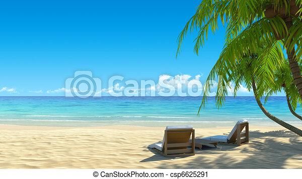 Two beach chairs on idyllic tropical white sand beach - csp6625291