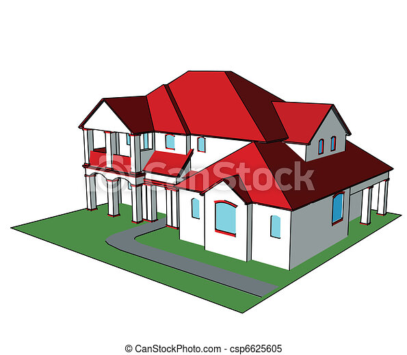Clipart vector of 3d house vector technical draw 3d house technical draw csp6625605 3d house drawing