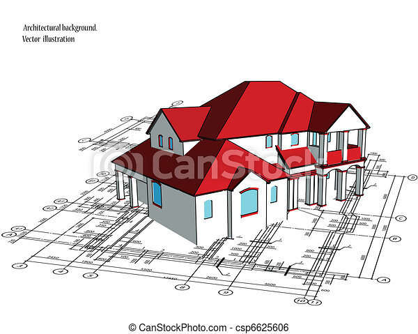 Clip Art Vector Of 3d House Vector Technical Draw 3d