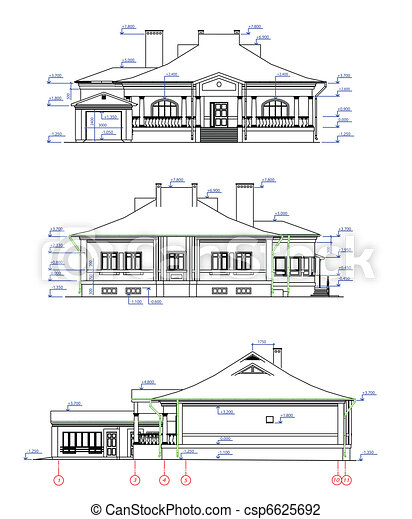 Vector Illustration Of House Elevations Vector Three