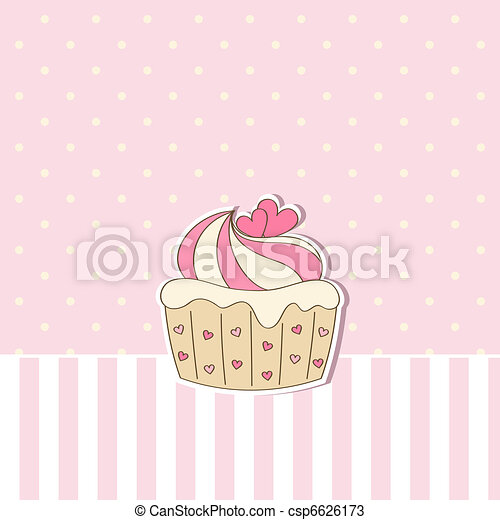 Beige background with cupcake.  - csp6626173