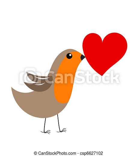 Vector Illustration of Robin bird with heart - Cute robin bird ...