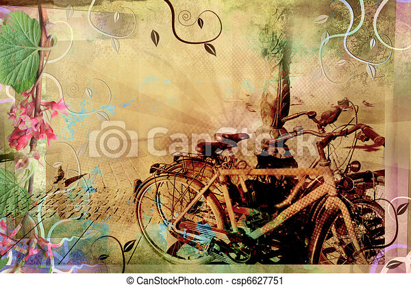 Beautiful retro design with old bikes - csp6627751