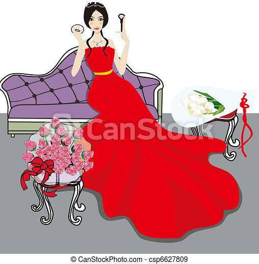 Bridal makeup for the wedding  - csp6627809