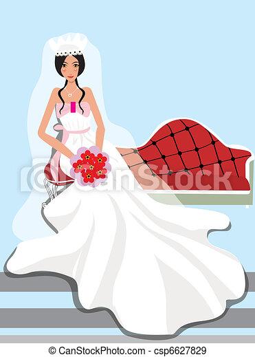 bride nervously waiting for wedding - csp6627829