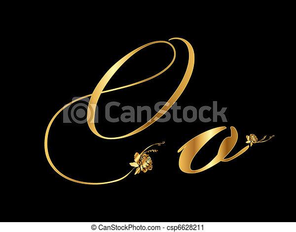 Gold vector letter O - csp6628211