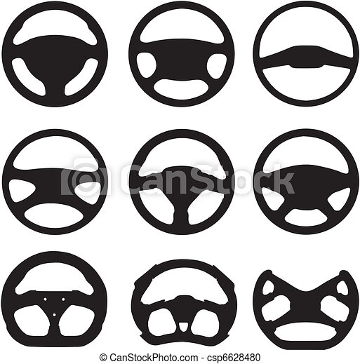Silhouettes of steering wheels - csp6628480