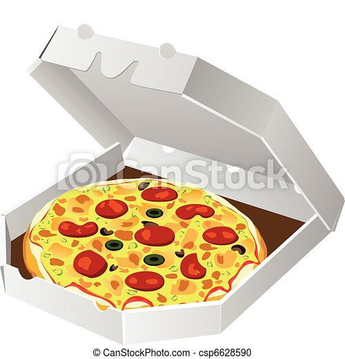 italian pizza in paper box - csp6628590