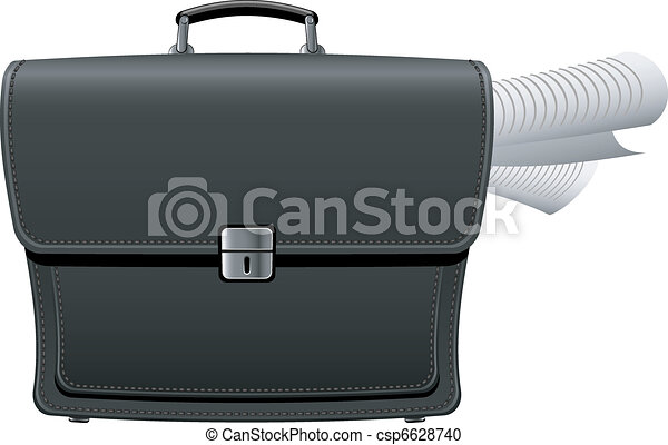 Briefcase with documents - csp6628740