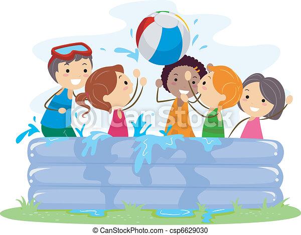 Clipart vecteur de gonflable piscine illustration de - Clipart piscine ...
