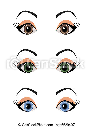set female eyes isolated - csp6629407
