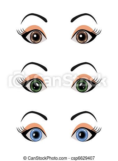 set female eyes isolated - csp6629407