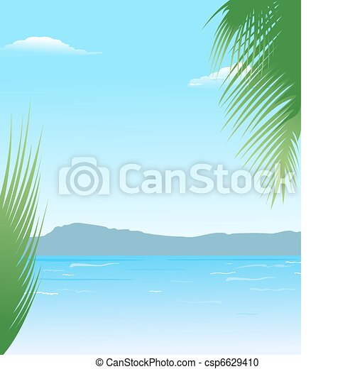 summer background with beach and mountains - csp6629410