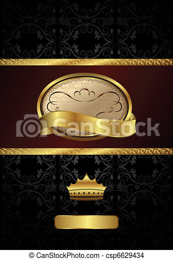 background with golden luxury label and crown - csp6629434