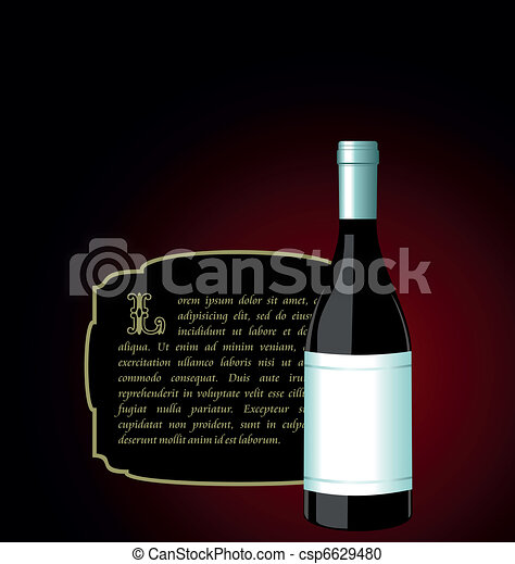 Illustration the elite wine bottle with white blank label - csp6629480