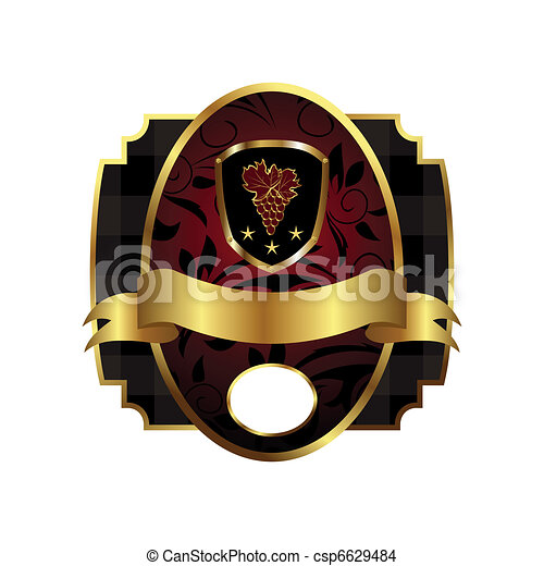 royal label with golden frame, shield, crown - csp6629484
