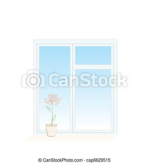 Illustration of flower in a pot on a window sill - csp6629515