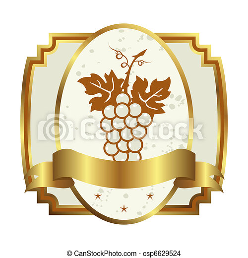 decorative gold frame label with grapevine - csp6629524